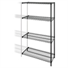 "Lorell Add-on Unit - 48"" x 18"" x 72"" - 4 x Shelf(ves) - 4000 lb Load Capacity - Black - Steel"