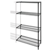"Industrial Adjustable Wire Shelving Add-On-Unit - 36"" x 24"" x 72"" - 4 x Shelf(ves) - 4000 lb Load Capacity - Black - Steel"