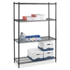 "Lorell Industrial Adjustable Wire Shelving Starter Unit - 36"" x 24"" x 72"" - 4 x Shelf(ves) - 4000 lb Load Capacity - Black - Steel"