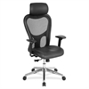 "High Back Executive Chair - Leather Black Seat - Aluminum Frame - 5-star Base - 24.9"" Width x 23.6"" Depth x 52.9"" Height"