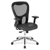"Lorell Mid Back Executive Chair - Leather Black Seat - Aluminum Frame - 5-star Base - 24.9"" Width x 23.6"" Depth x 44.1"" Height"