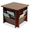"Table with Literature Rack - 21"" Height x 23.3"" Width x 23.3"" Depth - Floor - Mahogany - 1Each"
