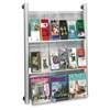 "Luxe Magazine Rack - 9 x Magazine, 18 - 9 Pocket(s) - 9 Compartment(s) - 9 Divider(s) - 41"" Height x 31.8"" Width x 5"" Depth - Floor, Wall Mountable - Silver Frame - Acrylic, Aluminum - 1Each"