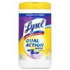 "Lysol Dual Action Disinfectant Cleaner - Wipe - Citrus Scent - 8"" Width x 7"" Length - 75 / Canister - 1 Each - Purple"