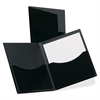 "Laminated DoubleStuff Twin Pocket Folder - Letter - 8 1/2"" x 11"" Sheet Size - 200 Sheet Capacity - 2 Pocket(s) - Black - 20 / Box"