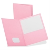 "Oxford Twin-pocket Pink BCA Portfolios - Letter - 8 1/2"" x 11"" Sheet Size - 2 Pocket(s) - Leatherette Paper - Pink - 25 / Box"