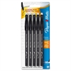 Paper Mate Erasable Ballpoint Ink Pen - Medium Point Type - Black - 5 / Pack