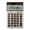 "HS-20TG Semi-desktop Calculator - Dual Power - 12 Digits - LCD - Battery/Solar Powered - 1.3"" x 4.1"" x 6.5"" - Black - 1 Each"