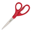 "Scotch 1407 Household/Office Scissors - 7"" Overall Length - Straight-left/right - Stainless Steel - Red"