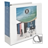 "Business Source Slanted Ring Presentation Binder - 3"" Binder Capacity - D-Ring Fastener - Polypropylene - White - 1 Each"