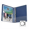 "Business Source Round Ring Binder - 1/2"" Binder Capacity - Round Ring Fastener - Vinyl - Dark Blue - 1 Each"