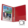 "Business Source Round Ring Binder - 1/2"" Binder Capacity - Round Ring Fastener - Vinyl - Red - 1 Each"
