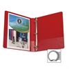 "Business Source Round Ring Binder - 1"" Binder Capacity - Round Ring Fastener - Vinyl - Red - 1 Each"