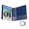 "Business Source Basic Round Ring Binders - 1 1/2"" Binder Capacity - Round Ring Fastener - Vinyl - Dark Blue - 1 Each"