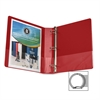 "Business Source Round Ring Binder - 1 1/2"" Binder Capacity - Round Ring Fastener - Vinyl - Red - Recycled - 1 Each"