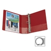 "Business Source Basic Round Ring Binders - 3"" Binder Capacity - Round Ring Fastener - Vinyl - Red - Recycled - 1 Each"