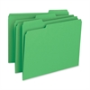 "Business Source Color-coding 1-Ply File Folders - Letter - 8 1/2"" x 11"" Sheet Size - 1/3 Tab Cut - Assorted Position Tab Location - 11 pt. Folder Thickness - Green - Recycled - 100 / Box"