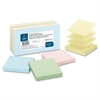 "Pop-up Adhesive Note - 3"" x 3"" - Square - Assorted - Removable, Repositionable, Solvent-free Adhesive - 12 / Pack"