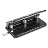 "Business Source Heavy-duty Hole Punch - 3 Punch Head(s) - 30 Sheet Capacity - 9/32"" Punch Size - Black"