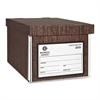 "Business Source File Storage Box - External Dimensions: 10"" Width x 12"" Depth x 15""Height - Media Size Supported: Legal, Letter - Lift-off Closure - Medium Duty - Stackable - Cardboard - Wood Grain -"
