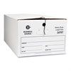 "Business Source File Storage Box - External Dimensions: 15"" Width x 24"" Depth x 10""Height - Media Size Supported: Legal - String/Button Tie Closure - Medium Duty - Stackable - White - For File - Recyc"