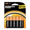 Duracell Long-life Alkaline AA Batteries - AA - Alkaline - 1.5 V DC - 10 / Pack