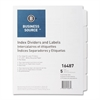 Business Source Unpunched Laser Tab Divider - 5 x Divider(s) - Blank - 5 Tab(s)/Set - White - White - 25 / Box