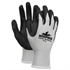 Nitrile Coated Knit Gloves - Large Size - Nylon, Foam, Nitrile - Gray, Black - Knit Wrist, Comfortable, Durable, Cut Resistant, Seamless, Spill Resistant - For Industrial, Multipurpose - 1 / P