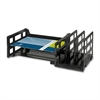 "Combo 2-Tray Vertical Organizer - 3.8"" Height x 14"" Width x 9.8"" Depth - Desktop - Recycled - Black - Plastic - 1Each"