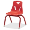 "Berries Plastic Chair w/Powder Coated Legs - Steel Frame - Four-legged Base - Red - Polypropylene - 16.5"" Width x 14"" Depth x 21.5"" Height"