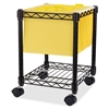 "Compact Mobile Wire Filling Cart - 4 Casters - 15.5"" Width x 14"" Depth x 19.5"" Height - Metal Frame - Black"