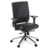 "Lorell Lower Back Swivel Executive Chair - Leather Black Seat - 5-star Base - Black - 28.5"" Width x 28.3"" Depth x 43.8"" Height"