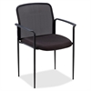 "Lorell Reception Side Guest Chair - Black Seat - Mesh Back - Steel Frame - Four-legged Base - 23.8"" Width x 23.5"" Depth x 33"" Height"