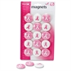 "OIC Breast Cancer Awareness Magnet - 1.13"" Diameter - Round - 15 / Pack - Pink, White"
