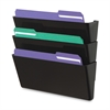 "Deflect-o Recycled DocuPocket Wall Files - Letter - 8 1/2"" x 11"" Sheet Size - 3 Pocket(s) - Plastic - Black - Recycled - 3 / Set"
