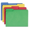 """CutLess® Folders - Letter - 8 1/2"""" x 11"""" Sheet Size - 3/4"""" Expansion - 1/3 Tab Cut - Assorted Position Tab Location - 11 pt. Folder Thickness - Assorted - Recycled - 100 / Box"""