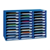 "Pacon Mail Sorter - 30 Pocket(s) - 1.8"" Height x 12.5"" Width x 10"" Depth - Recycled - Blue - 1Each"
