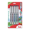 Pentel EnerGel NV Liquid Gel Pens - Medium Point Type - 0.7 mm Point Size - Assorted Gel-based Ink - Gray Barrel - 5 / Pack