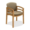 "HON Invitation 2112 Double Rail Arm Guest Chair - Fabric Oatmeal Seat - Wood Harvest Frame - Four-legged Base - Harvest, Oatmeal - 20"" Seat Width x 17.50"" Seat Depth - 23.5"" Width x 22"" Depth x 33.1"""
