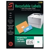 "Simon SJ Paper Recyclable Laser/Ink Jet Labels - 1.33"" Width x 4"" Length - 14 / Sheet - Rectangle - Laser, Inkjet - White - 1400 / Pack"