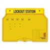 "Unfilled Lockout Station - 4 x Padlock - 12.3"" Height x 16"" Width x 1.8"" Depth - Wall Mountable - Yellow Frame, Cover - Plastic - 1Each"