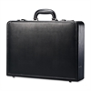 "Carrying Case (Attaché) for Document - Black - Leather - Handle - 13"" Height x 17.9"" Width x 4.3"" Depth"
