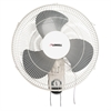 "Wall Mount Fan - 16"" Diameter - 3 Speed - Adjustable Tilt Head, Oscillating - 18.5"" Height x 9.3"" Width x 18.1"" Depth - White"