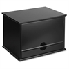 "Victor Midnight Black Coll. Wood Desktop Organizer - 4 Compartment(s) - 1 Drawer(s) - 14"" Height x 10.8"" Width x 9.8"" Depth - Desktop - Black - Wood, Rubber, Faux Leather - 1Each"