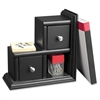 Victor Midnight Black Collectn Reversible Book End - 2 Drawer(s) - Desktop - Black - Wood, Metal - 1Each