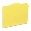 "Business Source Interior File Folder - Letter - 8 1/2"" x 11"" Sheet Size - 1/3 Tab Cut - Assorted Position Tab Location - 11 pt. Folder Thickness - Yellow - Recycled - 100 / Box"