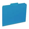 "Business Source 1/3-cut Colored Interior File Folders - Letter - 8 1/2"" x 11"" Sheet Size - 1/3 Tab Cut - Assorted Position Tab Location - 11 pt. Folder Thickness - Blue - Recycled - 100 / Box"