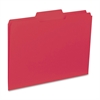 "Business Source 1/3-cut Colored Interior File Folders - Letter - 8 1/2"" x 11"" Sheet Size - 1/3 Tab Cut - Assorted Position Tab Location - 11 pt. Folder Thickness - Red - Recycled - 100 / Box"