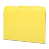"Sparco Top Tab File Folder - Letter - 8 1/2"" x 11"" Sheet Size - 1/3 Tab Cut - Assorted Position Tab Location - 11 pt. Folder Thickness - Yellow - Recycled - 100 / Box"