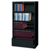 "Lorell Receding Lateral File with Roll Out Shelves - 36"" x 18.6"" x 69"" - 5 x Drawer(s) for File - Legal, Letter, A4 - Leveling Glide, Ball-bearing Suspension, Interlocking, Heavy Duty, Recessed Handle"